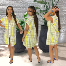 Casual Plaid Short Sleeve Shirt Dress SMXF-9138