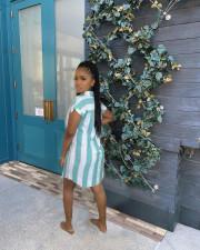 Casual Striped Short Sleeve Shirt Dress SMXF-9139
