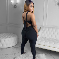 Sexy Sleeveless Cross Strap Stacked Jumpsuit XINF-2028