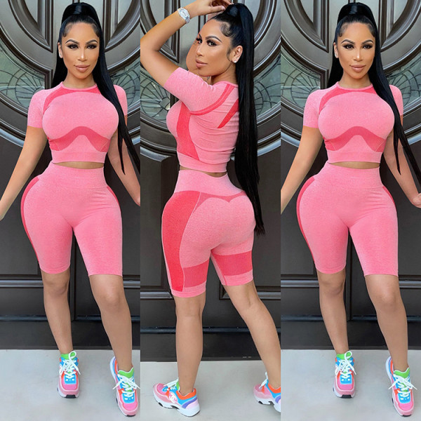 Casual Sports Short Sleeve Two Piece Sets GLF-7032