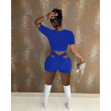 Solid Short Sleeve Two Piece Shorts Set IV-8223
