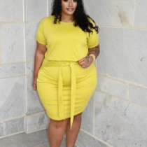 Plus Size Solid Short Sleeve Two Piece Skirt Sets LP-6296