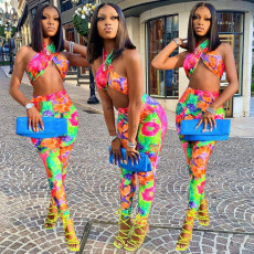 Sexy Tie Dye Wrap Chest Two Piece Pants Set XINF-2016