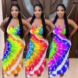Plus Size Tie Dye Print Sleeveless Split Maxi Dress LP-6293