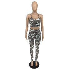 Camo Printed Cami Top And Pants 2 Piece Sets XINF-2017