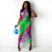 Sexy Mesh Printed Sleeveless Long Dress SZF-8090