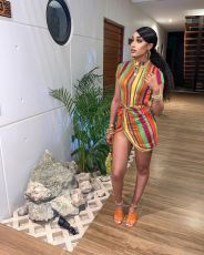 Sexy Striped Short Sleeve Mini Dress WXF-8865