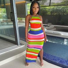 Colorful Striped Ribbed Backless Split Maxi Dress GLF-8094