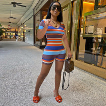 Colorful Striped Ribbed Short Sleeve Romper GLF-8104