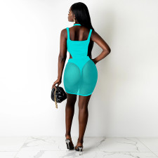 Sexy Mesh Patchwork Hollow Backless Club Dress SZF-8097