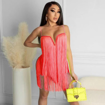 Sexy Tassel Spaghetti Strap Club Dress SZF-8085