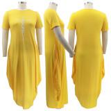 Plus Size Casual Short Sleeve Irregular Maxi Dress BMF-PP062