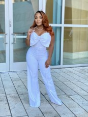Sexy Solid Bow-Knot Back Zipper Strap Jumpsuit WY-6772