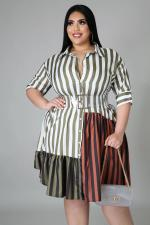 Plus Size Striped Patchwork Shirt Dress Without Belt BMF-PP058