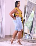 Plus Size Denim Ripped Hole Jeans Shorts LM-8249