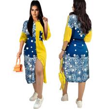 Plus Size Contrast Color Print Loose Shirt Dress LS-0351