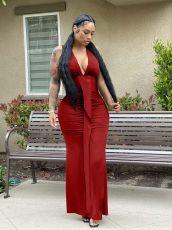 Sexy Sleeveless V Neck Ruched Long Evening Dress OMY-0029