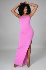 Sexy Solid Sleeveless Backless Split Maxi Dress JPF-1046