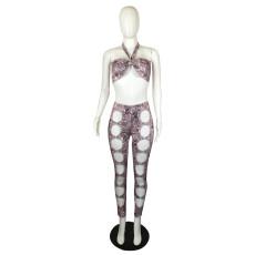 Plus Size Snake Skin Print Halter Hollow Pants 2 Piece Sets QYF-5066