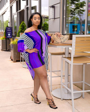 Sexy Striped Irregular Top And Shorts 2 Piece Sets NLF-8065