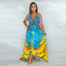 Sexy Printed Halter V Neck Irregular Long Dress CYA-9032