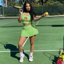 Casual Tennis Tank Top Mini Culottes 2 Piece Sets HBF-4025