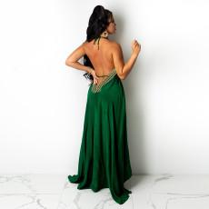 Sexy Halter Backless Long Evening Dress CYA-9033