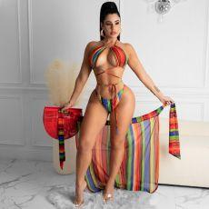 Printed Sexy Bikini Tie-up Swimsuit Three Piece Set YYGF-1077