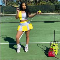 Fashion Casual Splice Slim Sports Vest Culottes Two Piece Sets YFS-2035