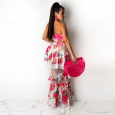 Floral Print Wrap Chest Long Cascade Skirt 2 Piece Sets CYA-9023
