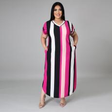 Plus Size Casual Striped V Neck Short Sleeve Maxi Dress CYA-1566