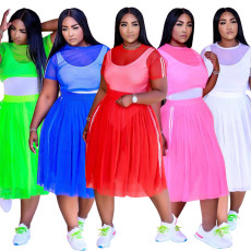 Plus Size Mesh Perspective Crop Top+Midi Skirt 2 Piece Sets (Without Underwear) CYA-1552