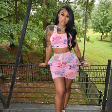 Letter Print Casual Sports Two Piece Shorts Set TK-6180