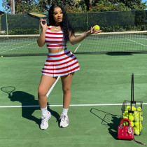 Striped Slim Sports Tank Top And Culottes Two Piece Sets CYAO-007