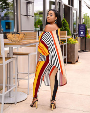 Casual Striped Irregular Top And Pants 2 Piece Sets TR-1156