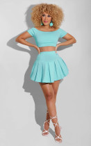 Sexy Solid Color Short Sleeve Pleated Skirt Two Piece Sets LS-0352