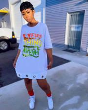 Letter Print Shoort Sleeve Casual T Shirt Dress OM-00010