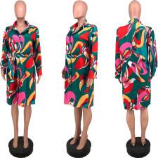 Casual Loose Printed Long Sleeve Shirt Dress YJF-8386