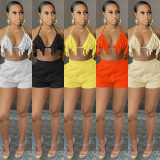 Sexy Solid Tassel Bra Top And Shorts 2 Piece Sets CH-8179