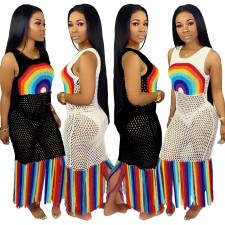 Plus Size Fashion Sexy Print See Through Beach Dress YS-8355