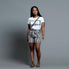 Plus Size Snake SKin Print T Shirt+Shorts 2 Piece Sets SH-3618