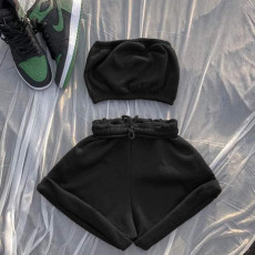Fashion Casual Solid Color Wrapped Chest Shorts Two Piece Sets YS-8809