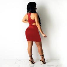 Sexy Solid Hollow Out Irregular Bodycon Mini Dress YBSF-6705