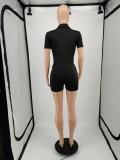 Plus Size Casual Short Sleeve Pocket Zipper Romper YIM-196