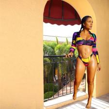 Sexy Printed Long Sleeve Bikinis 2 Piece Sets YH-5057