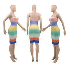 Fashion Print Wrapped Breast Midi Dress SMXF-9168