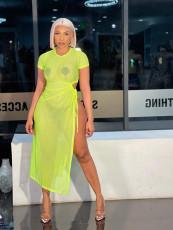 Mesh Perspective High Slit Sexy Dress FNN-8614