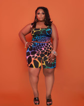 Plus Size Casual Printed Tank Top And Shorts 2 Piece Suits TCF-081