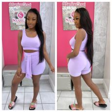 Casual Solid Tank Top And Shorts 2 Piece Suits TCF-080