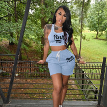 Pink Letter Print Sports Two Piece Shorts Set MNKF-8015